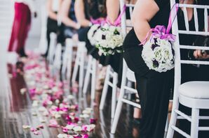 White and Pink Pomander Ceremony Wedding Decor