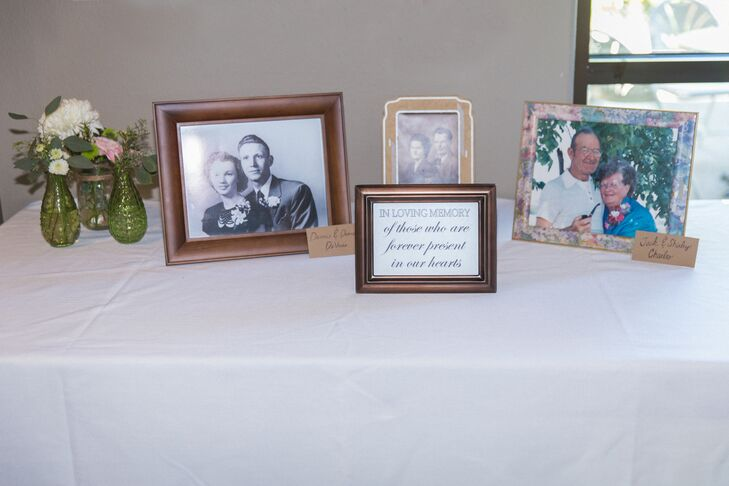 Photos of the couple's late family members were presented in loving memory at the reception.
