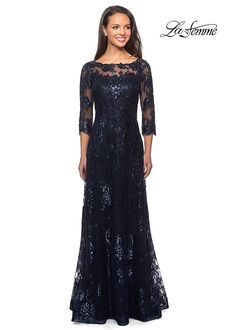 La Femme Evening 27885 Blue Mother Of The Bride Dress