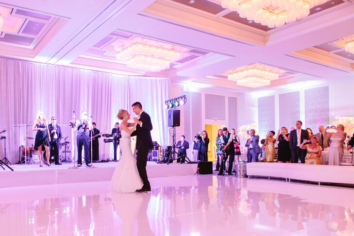"""The couple took their first dance across a white dance floor to """"Then"""" by Brad Paisley. """"The song just has so much meaning to us. It talks about how love just continues to grow and get stronger,""""  says Stephanie."""