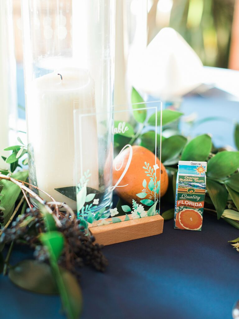 spring wedding centerpieces oranges and orange juice