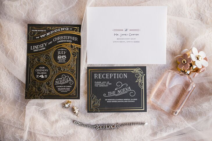 """""""Our invitations were black with gold accents and nailed our art deco theme,"""" Lindsey says. """"Every detail perfectly showcased our theme to give our guests a hint of what to expect on our wedding day."""""""