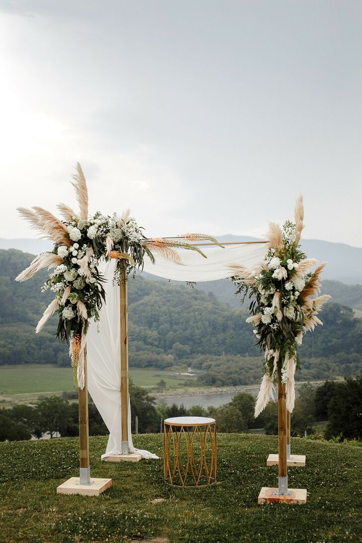 Chuppah with Pampas Grass for Hilltop Wedding Ceremony in San Sebastian, Spain