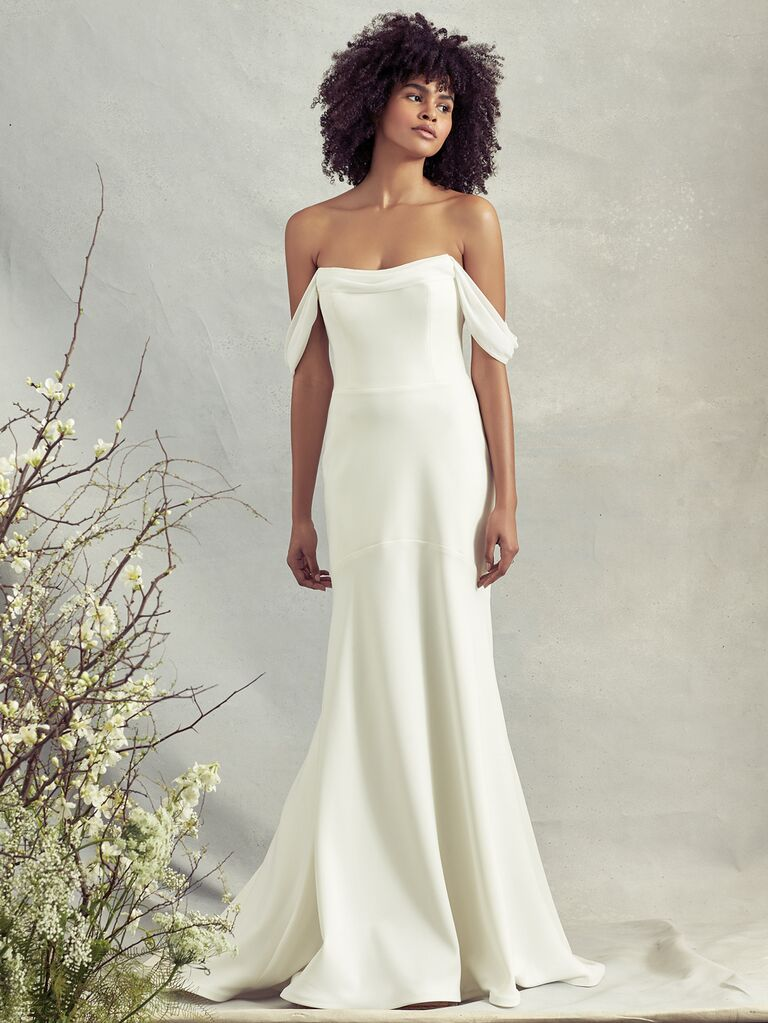 Savannah Miller Spring 2020 Bridal Collection wedding dress with draped off-the-shoulder straps