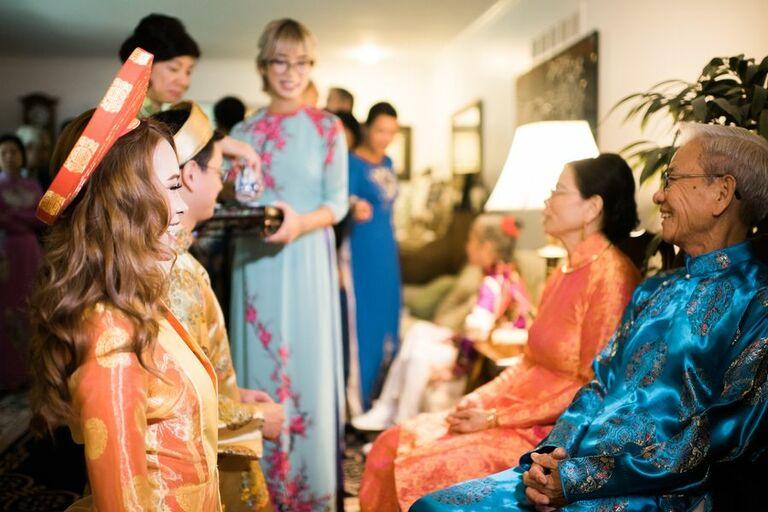 Tea ceremony during Vietnamese wedding