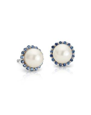 Blue Nile Sapphire and Freshwater Cultured Pearl Halo Stud Earrings Wedding Earring photo