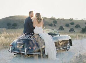 Romantic Couple with Classic Car at Kestrel Park in Santa Ynez, California