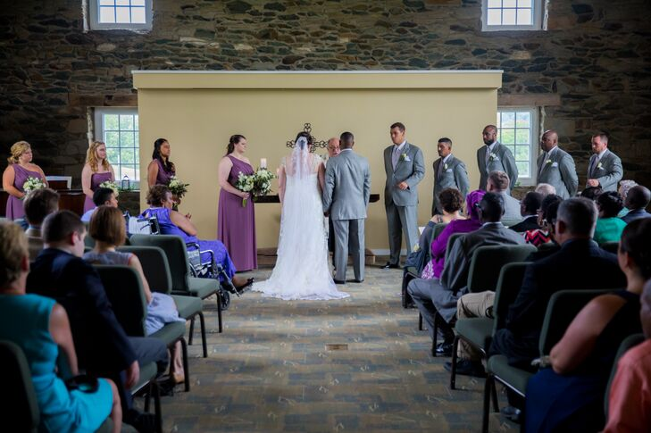 The couple exchanged their vows in one of the natural stone buildings at Meadowkirk at Delta Farm in Middleburg, Virginia.