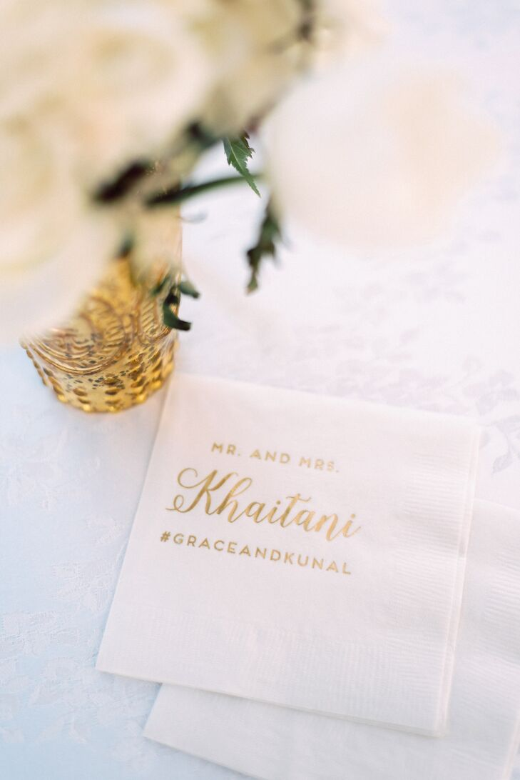 Personalized Cocktail Napkins with Gold Foil Lettering