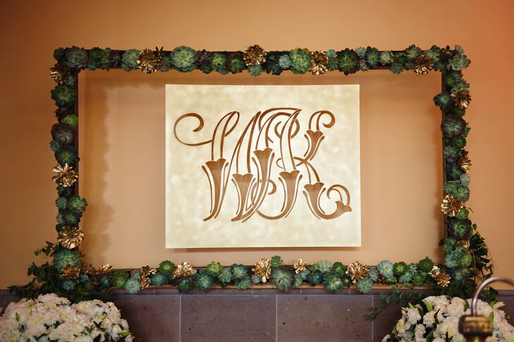 Modern Succulent Frame Gold Monogram