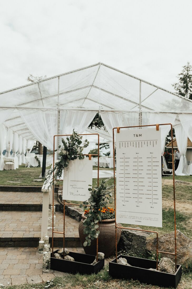 Elegant Seating Chart Signs with Reception Tent