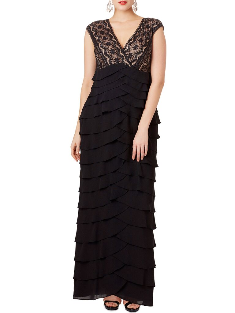 Black scalloped evening gown with ruffled skirt