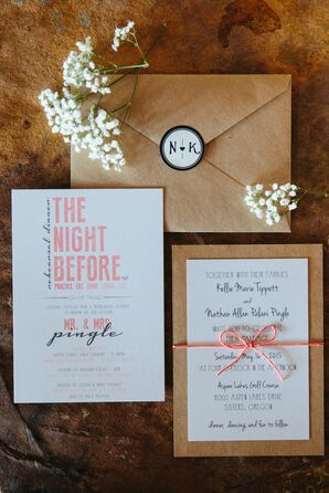 Coral, Black and White Wedding Invitations