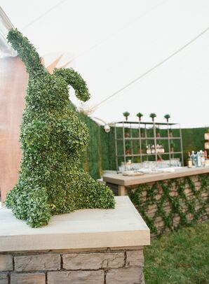 Rabbit Topiary Under Tent Reception