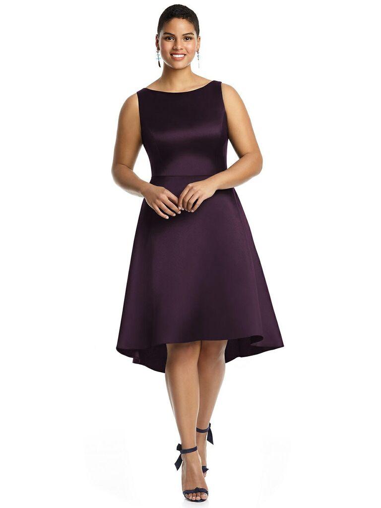 Short eggplant bridesmaid dress