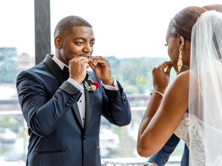 Couple tasting the four elements during wedding ceremony