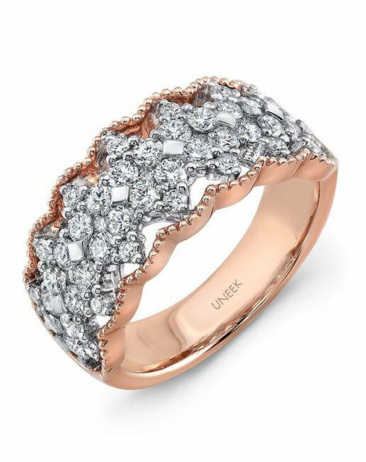 Uneek Fine Jewelry The Gossamer Open Lace Diamond Band/LVBLG4879 Gold Wedding Ring