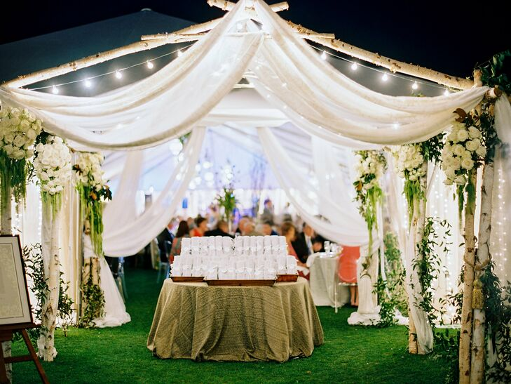 Tented Reception with Greenery and Lights