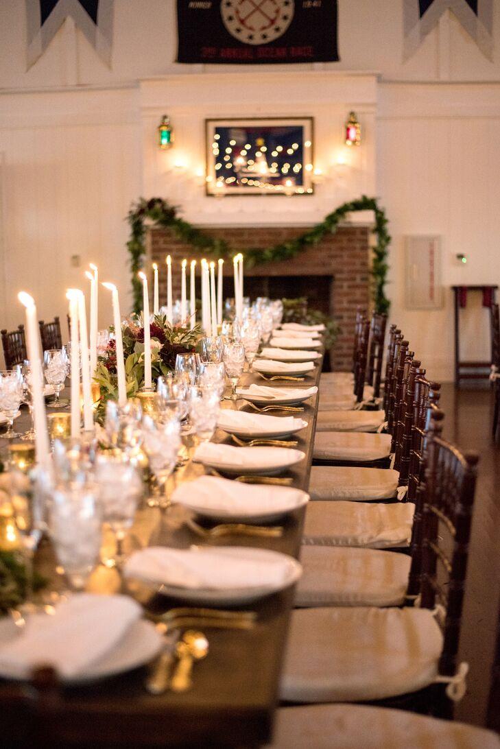 Elegant Dining Table with White Taper Candles