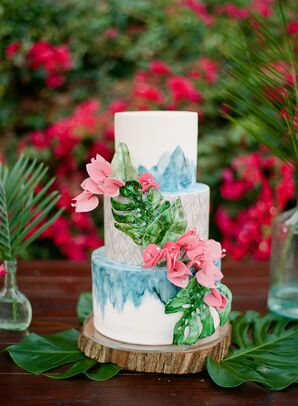 Round Tiered Cake with Tropical Fondant Flowers and Banana Leaves