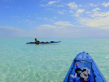 A couple kayaking on their honeymoon