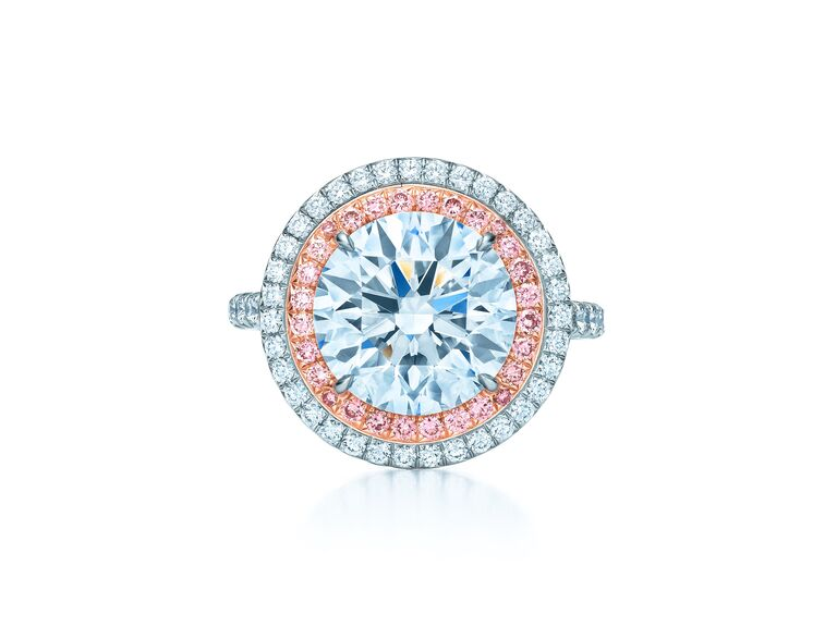 Tiffany & Co. round white and pink diamond engagement ring.