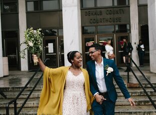 "For Kyra and Portia, ""the idea of planning a wedding sounded exciting to us. However, it definitely seemed like a ton of work and money. The type of w"