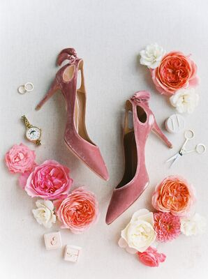 Pink Shoes and Gold Wedding Jewelry