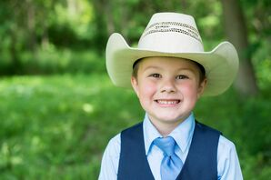 Ring Bearer in a Navy Vest and Tie