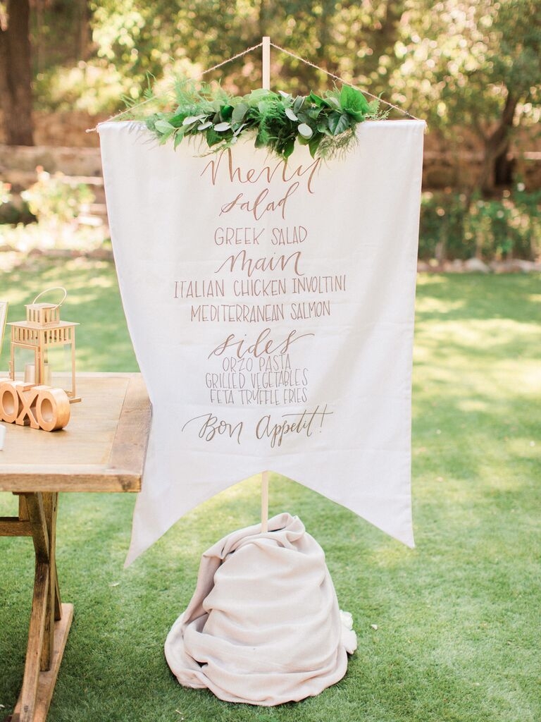 Whimsical Canvas Pendant creative wedding menu display idea