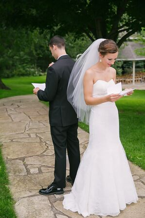 Bride and Groom Reading Letters During First Look