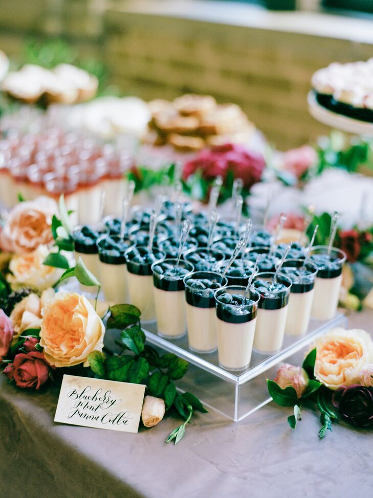 Dessert Table of Blueberry Mint Panna Cotta