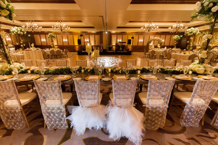 Emily and Chris' reception chairs stood out from the crowd thanks to billowy tufts of raw tulle.