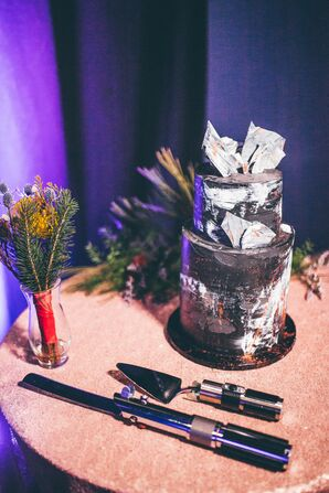 Black-and-White Wedding Cake at Star Wars-Themed Wedding