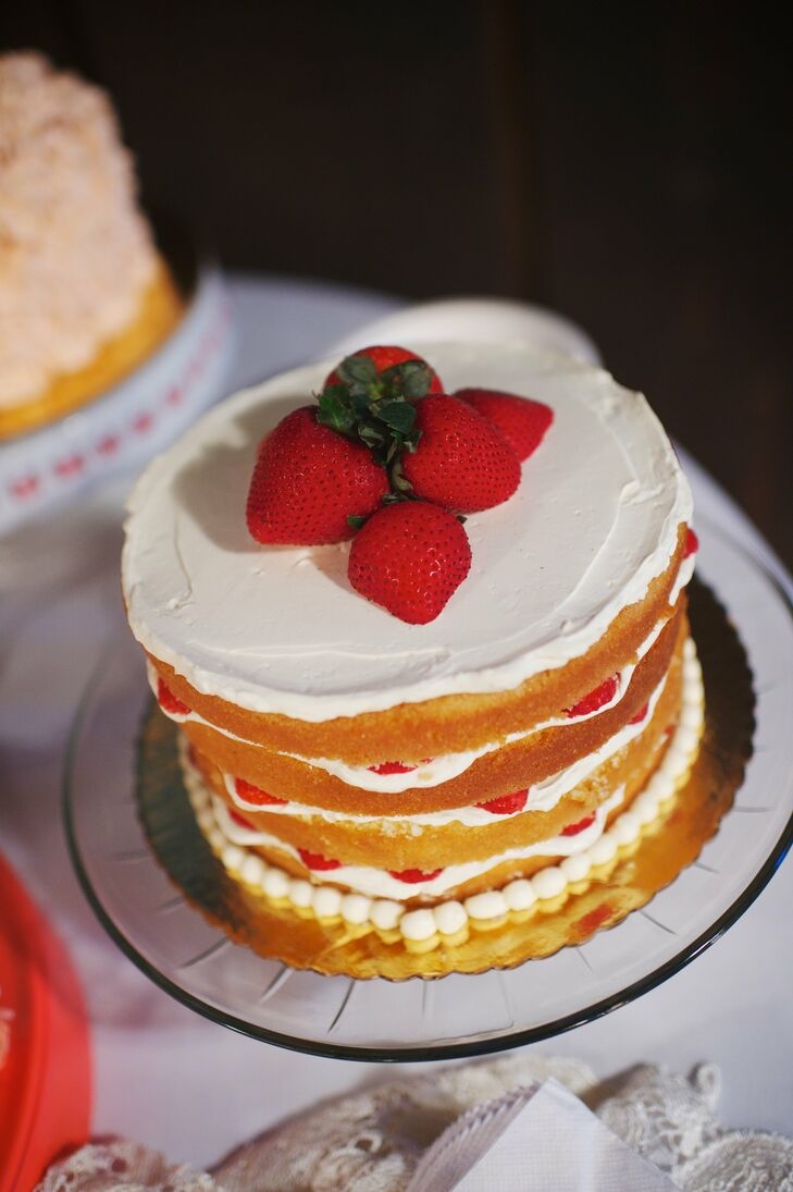 To end the night on a sweet note, a freshly made strawberry shortcake sat on the dessert table and matched the strawberry table cards that were featured on the guest tables.