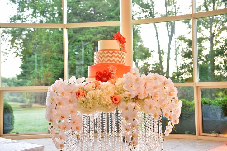 Modern Orange Cake on Orchid and Crystal Stand