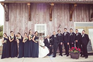 Navy Wedding Party Outside of Barn