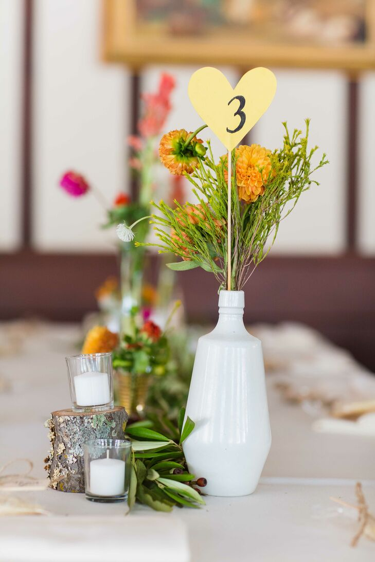 Diy Flower Centerpiece And Table Number