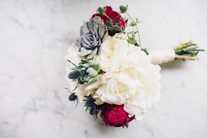 Bouquet with Succulents, Peonies, Thistle and Garden Roses
