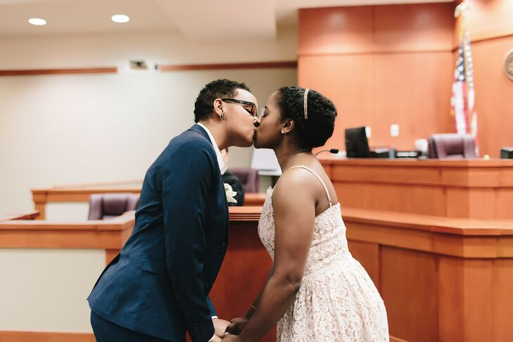 Couple Shares First Kiss During Courthouse Ceremony