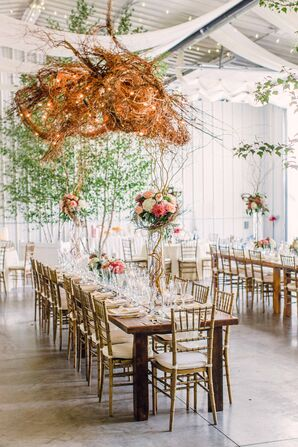 Rustic Gold and White Reception Decor