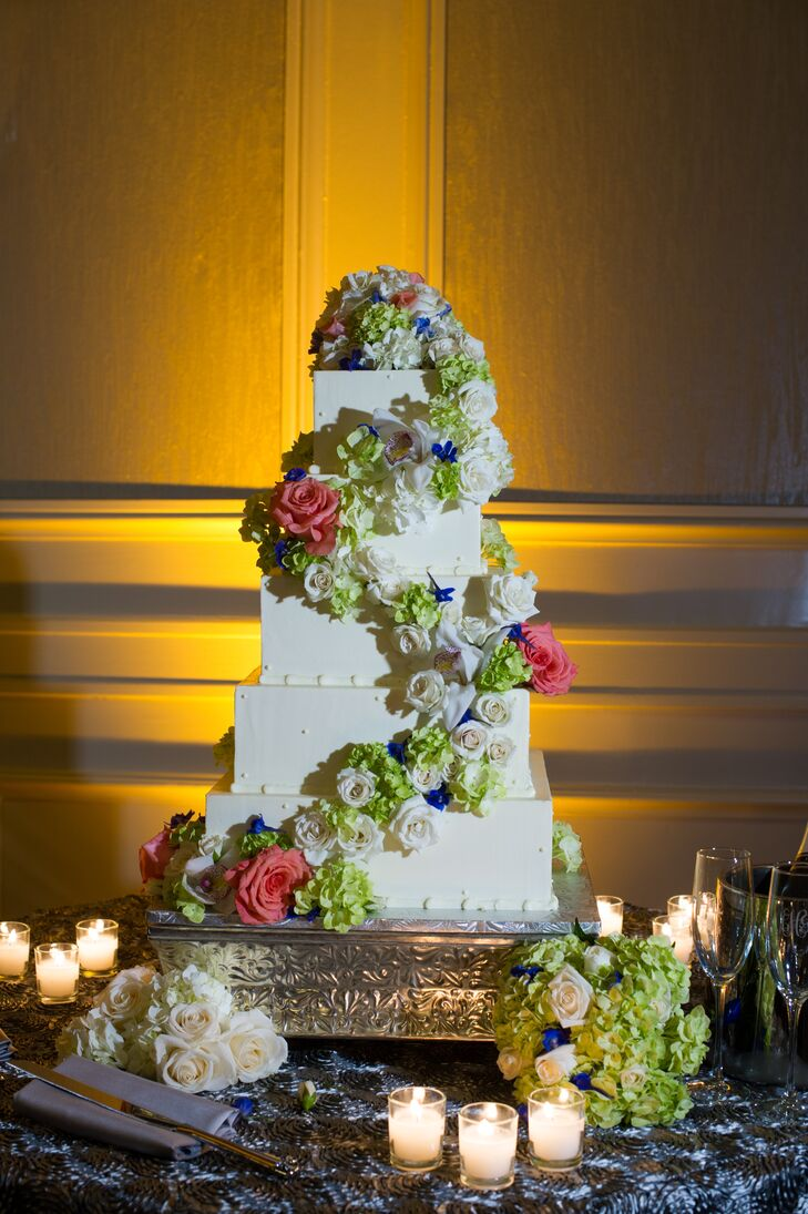 Square Buttercream Cake with Cascading Hydrangea and Roses
