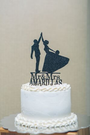 White Wedding Cake With Dancing Silhouette Topper