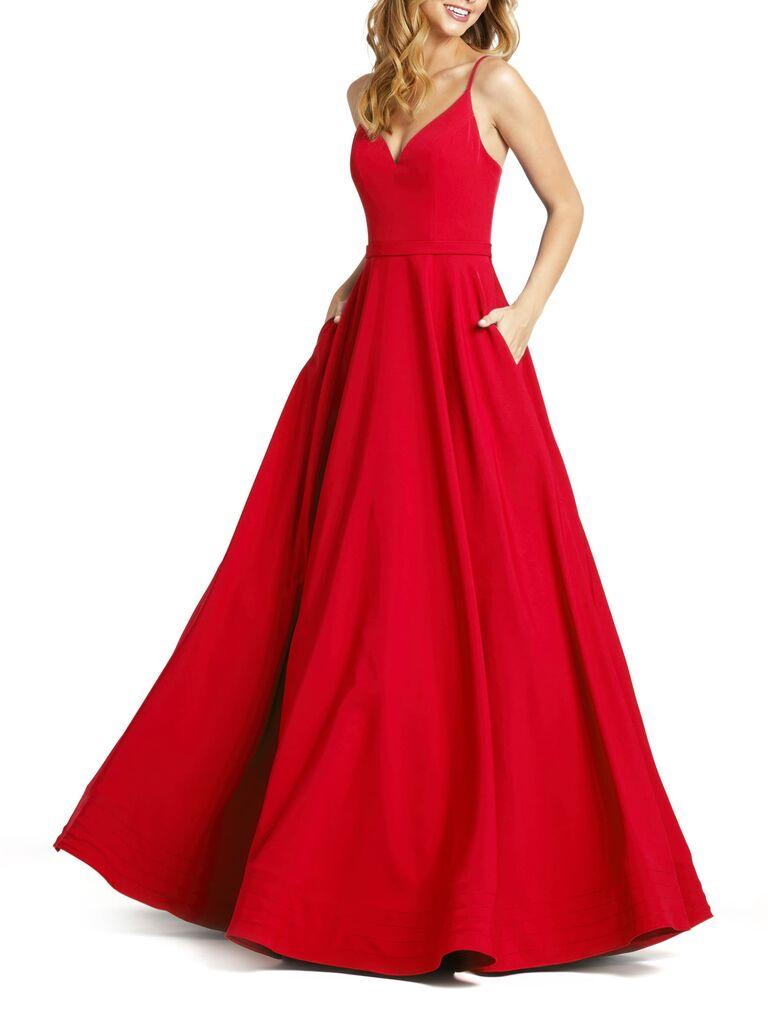Mac Duggal V-neck crepe ball gown