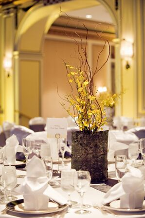 Birch Bark and Yellow Orchid Centerpieces