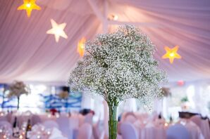 Tall Vases of Baby's Breath Centerpieces