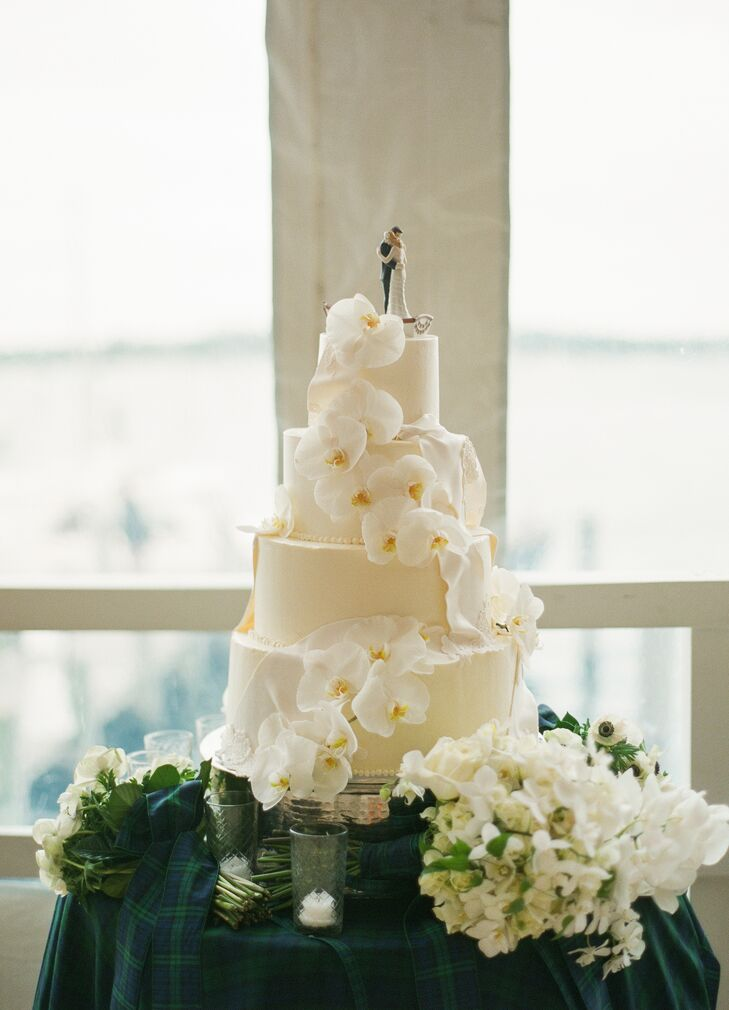 Tiered Cake with Custom Topper and Orchids