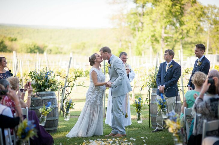 Priam Vineyards Wedding Ceremony First Kiss