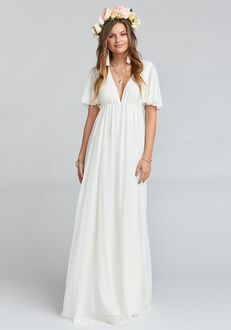 1477a38e607 Show Me Your Mumu Faye Flutter Maxi Dress - Wedding Cake Chiffon V-Neck  Bridesmaid