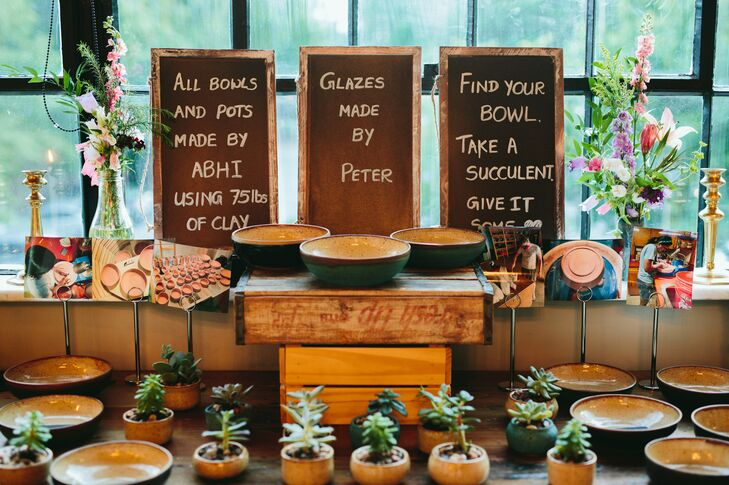 Wedding Favors of Clay Pots, Bowls and Succulents